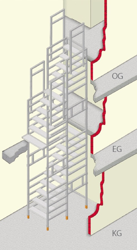 Bautreppe gerade-uebereinander