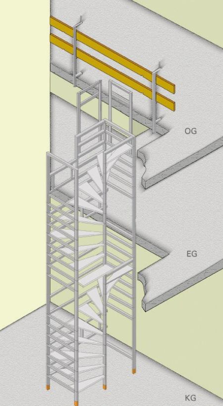 Bautreppe halbgewendelt-uebereinander