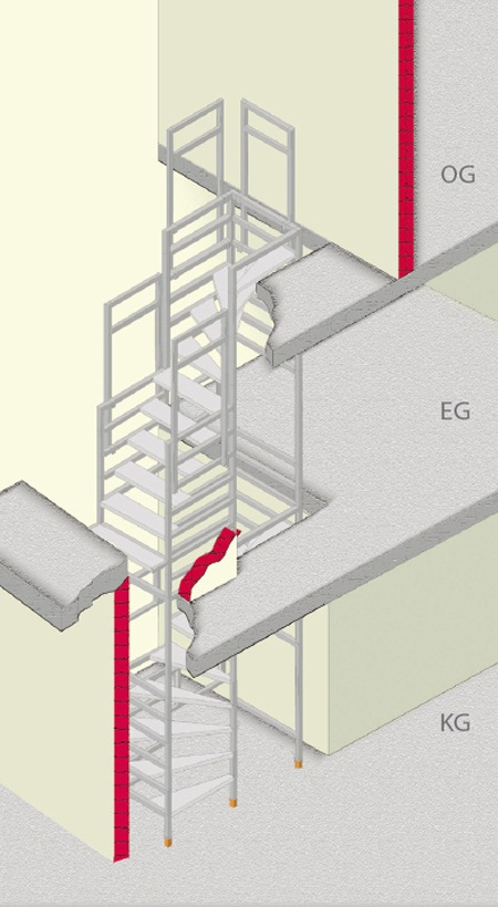 Bautreppe halbgewendelt-und-viertelgewendelt-uebereinander